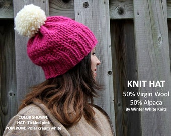 Knit pom pom hat, Alpaca/wool knit hat, pom pom winter hat, handknit hat, 50/50 Alpaca/wool hat, so soft and cozy, suggly soft