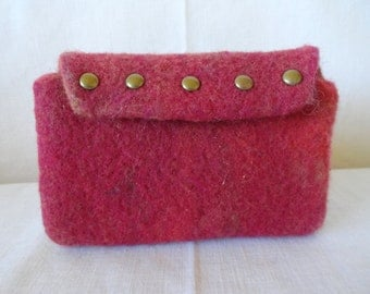 Handmade Needle Felted Small Clutch, Wallet, Cosmetic Bag