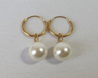 Gold Plated Sleeper Hoop & Faux Shell Pearl Drop Earrings.