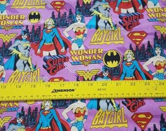 Camelot Cottons Super girl, Batgirl, Wonder Woman cotton woven fabric