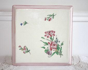 Hand Painted Trivet, Hot Plate, Vintage Trivet, Tile Trivet, Coaster, 1930s, Mid Century, Cottage Decor, Kitchen Table, Vintage Rose Decor