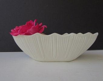 Vintage White  Vase - Long White Scalloped Planter - Fluted Planter  Vase - Classic White -