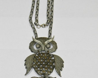 Clearance Vintage Mixed Metal Owl Articulated Pendant Necklace