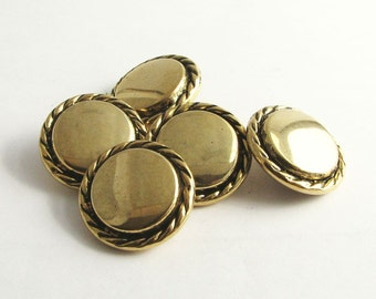 Gold tone metal buttons with self shanks, vintage coat buttons made of metal, unused!!