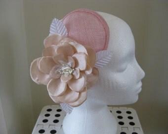 Pink teardrop  fascinator with silk dupion flower