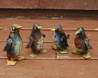 4 Wind Up Toy Penguins, Antique Tin Toy Penguins, Vintage Wind Up Toys, Collection of Toy Penguins, Wind Up Toys, Lithograph Windup Toy