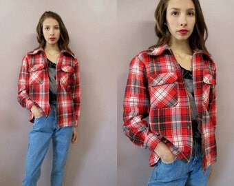 Vintage Plaid Flannel Shirt//70s red plaid thick flannel shirt top Northwest lumberjack grunge hippie outerwear jacket//see measurements