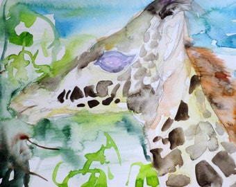 GIRAFFE - original watercolor painting - one of a kind!