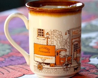 """Vintage Biltons """"Hill's Confectioners"""", J.Watkinson Removal Contractors of Preston"""" 1970's Brown and white ceramic coffee mug"""