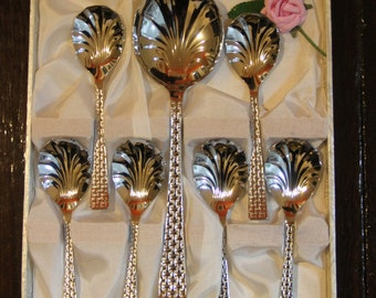 Vintage Chromium Plated Stainless Steel Sheffield Desert serving set in satin lined case