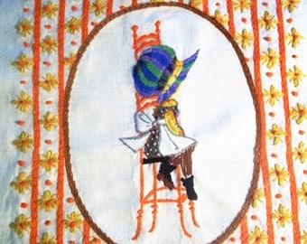 Vintage Embroidery of Sun Bonnet Sue - Large