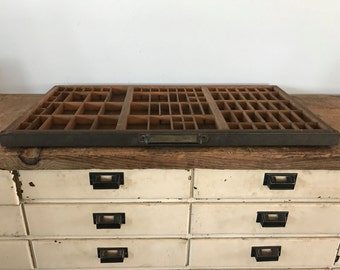 Huge Vintage Wooden Printers Drawer/Printers Tray, Jewelry Holder, Knick Knacks, Farmhouse Decor, 32x17