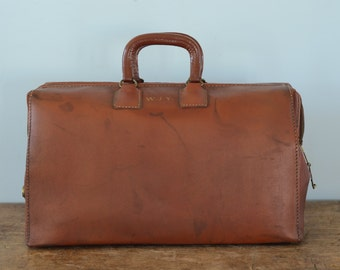 Vintage Split Cowhide Brown Leather Doctors Bag, Carry On Weekender Luggage, Overnight Bag, with Zipper and Handles