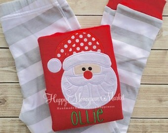Organic Children's Santa Claus Appliqué Christmas Stripe Pajama Set Red Shirt with Gray and White Stripe Pant Matching Family Holiday PJ's