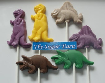 DINOSAUR CHOCOLATE Lollipops*12 Count*Reptile Party*Dinosaur Party Favor*TRex*Boy Birthday*Dimetrodon*Triceratops*Paleontologist