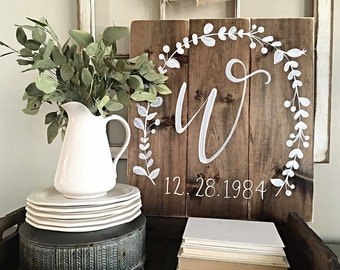 Rustic Home Decor | Initial with Wedding Date | Wood Wedding Sign | Wood Monogram | Wedding Gift | Rustic Wedding Decor | Wedding