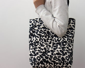 "14"" * 15.5"" Black Leopard print cotton canvas tote bag, Fashion bag, Market bag, Eco friendly cotton fabric"