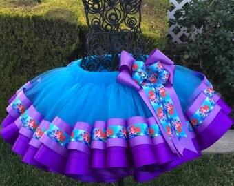The Princess - Ariel/Little Mermaind  Ribbon Tutu, Sewn Ribbon Trimmed Tutu, Girls Tutu Dress, Tutu For Girls/Party/Birthday
