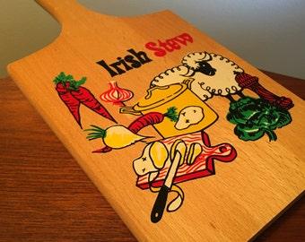 Vintage Nevco Irish Stew decorative wood cutting board made in Yugoslavia
