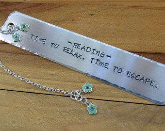 Time To Relax Stamped Metal Bookmark