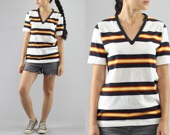V Neck  Short Sleeve Shirt Basic White Striped TShirt 80's Vintage