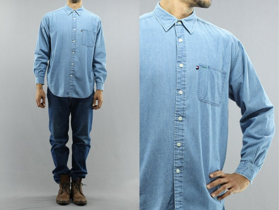 Tommy hilfiger denim button up long sleeve light wash jean for Jean button up shirt mens