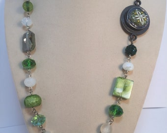 Beaded Necklace with Fabric Button Clasp