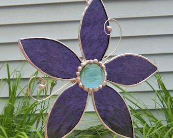 Stained Glass Sun Catcher- Purple Flower-Window Decor