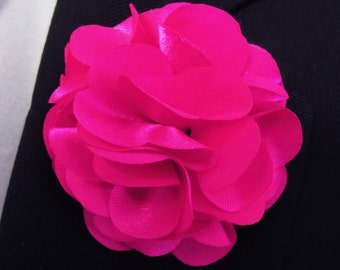 Fuschia  Flower Boutonniere With 2 Inch Stick Lapel Pin