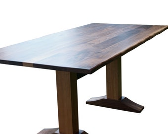 Live edge Walnut dining table with a cherry and walnut trestle base, Walnut natural edge look, unique dining table, free shipping