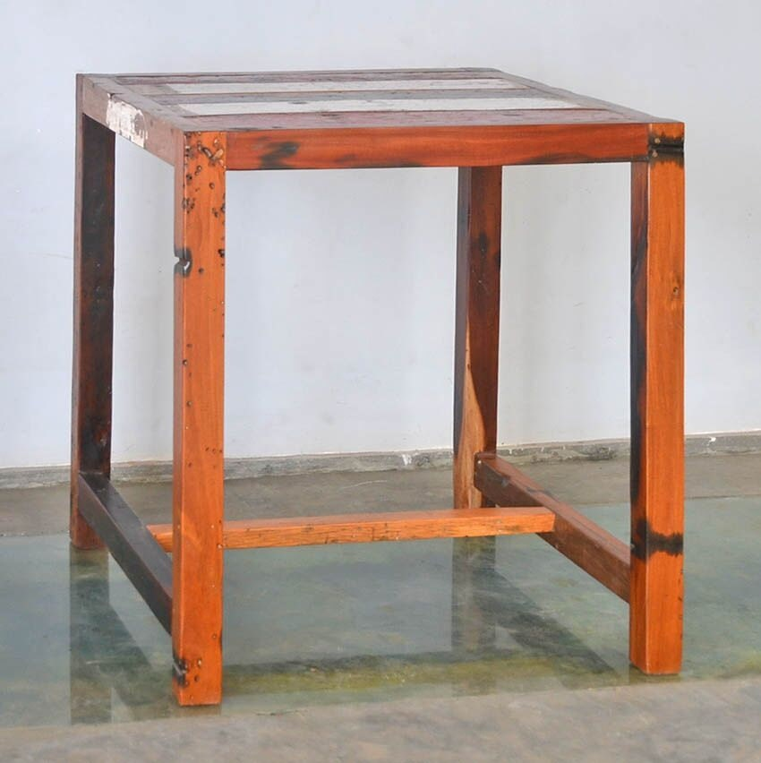 Outdoor Furniture, Reclaimed Teak Bar Table Made Form Reclaimed Bali Boats