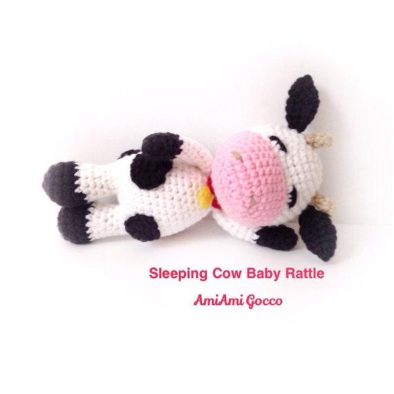 Crochet Baby Rattle Amigurumi Cow Crochet Cow Stuffed Toy Cow