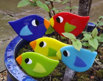 Fun fused glass bird house plant stake garden ornament