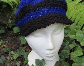 hat, cap, crochet, handmade,blue, black,
