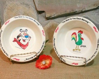 Kelloggs Cereal Bowls, Kelloggs Collectibles, Tony the Tiger, Corny Rooster, Retro Kitchen, Camping Dishes, Kelloggs Characters, Kids Dishes