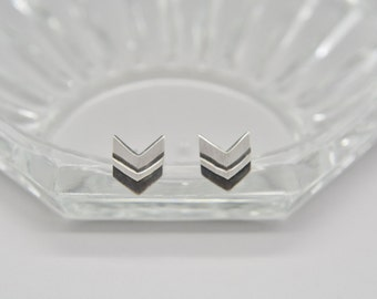 Chevron style III oxidized sterling silver stud earrings 7x8 mm, silver 925 Geometric Chevron earrings, Silver Art Decon earrings