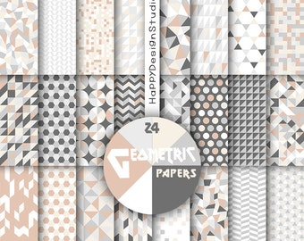 Beige geometric digital paper gray grey ivory tan white geometrical pattern elegant paper pack image triangle mosaic modern party background