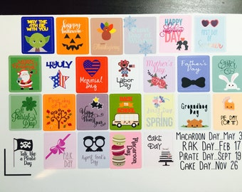 Yearly Holiday Functional Planner Stickers