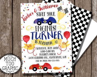 Race Car Racing Racecar Invitation 1st 2nd 3rd 4th Birthday Party Watercolor Fall Inivtations