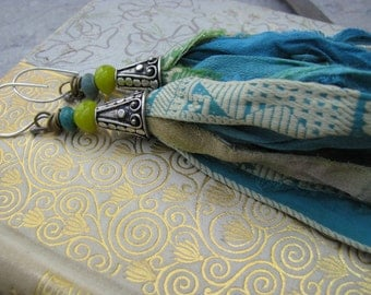 SALE~ As seen on the cover of Belle Armoire magazine,recycled sari silk tassel earrings,long blue green tassels,shoulder dusters,bohemian