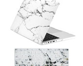 """TopCase 2 in 1 Retina 13-Inch White Marble Rubberized Hard Case and Keyboard Cover for MacBook Pro 13"""" with Retina Model A1425 / A1502"""