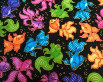 A Tail of two Kitties coordinate goldfish cotton fabric by Quilting Treasures