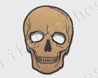 Skull Head Ghost Lite Brown Color Halloween New Sew / Iron On Patch Embroidered Applique Size 7cm.x9.5cm.