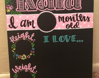 Monthly changeable chalkboard for first year photos