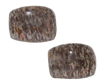 Black Feldspar Set of 2 Cushion Cabochon 1A Quality 8x6mm TGW 2.40 Cts