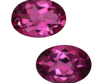 Mystic Magenta Coated Topaz Oval Cut Loose Gemstones Set of 2 1A Quality 7x5mm TGW 1.55 cts.