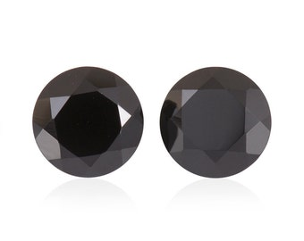 Thai Black Spinel Round Cut Loose Gemstones Set of 2 1A Quality 7mm TGW 2.65 cts.