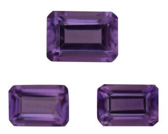 African Amethyst Loose Gemstones Octagon Cut Set of 3 1A Quality 1-7x5mm 2-6x4mm TGW 1.80 cts.