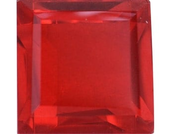 Blazing Red Triplet Quartz Loose Gemstone Square Cut 1A Quality 10mm TGW 5.60 cts.