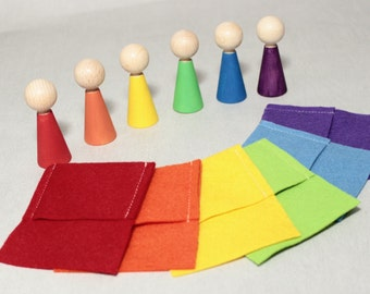 Rainbow Wooden Peg Dolls, Easter Basket, Set 6 Matching Wood Toys, Montessori Toys, Sorting Game, Waldorf, Easter Gift, Toddler Busy Bag